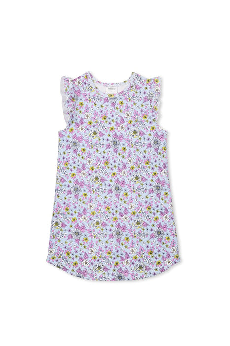 MILKY FLORAL NIGHTIE ICE BLUE