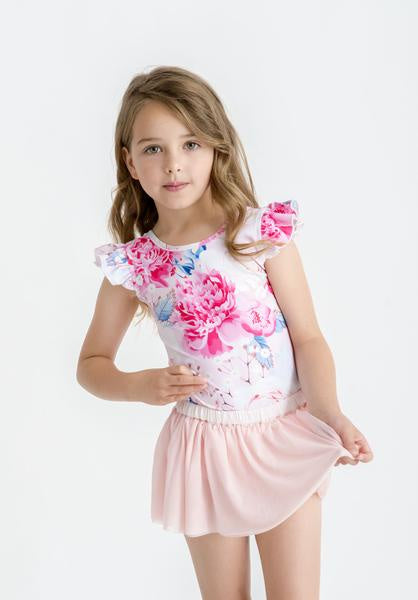 LITTLE HEARTS LUXE FRILL LEOTARD - FLURO PINK FLORAL
