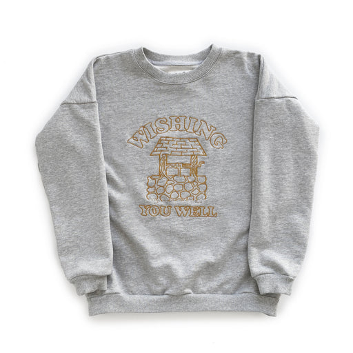 POP FACTORY WISHING CREW - GREY MARLE FLEECE