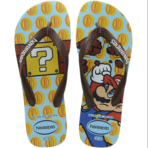 HAVAIANAS MARIO BROS ICE BLUE DARK BROWN