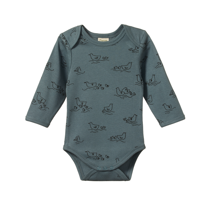 NATURE BABY LONG SLEEVED BODYSUIT POND PRINT
