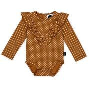 KAPOW KIDS STRAIGHT FROM THE HEART RUFFLE BODYSUIT CARAMEL BROWN