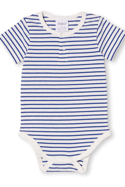 MILKY BABY STRIPE BUBBYSUIT MARINA BLUE WHITE