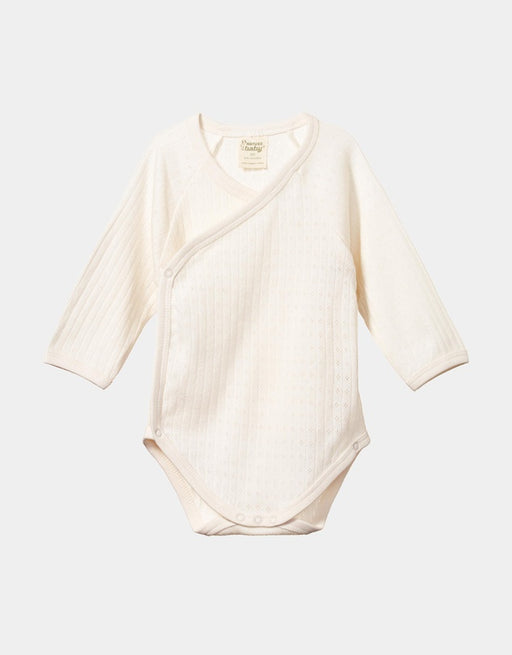 NATURE BABY LONG SLEEVE KIMONO BODYSUIT NATURAL