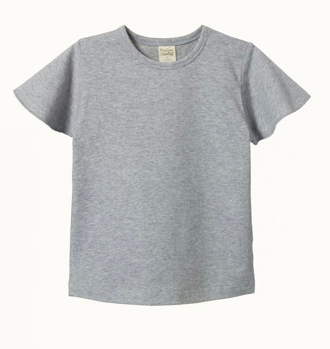 NATURE BABY PETAL SLEEVE TEE GREY MARLE
