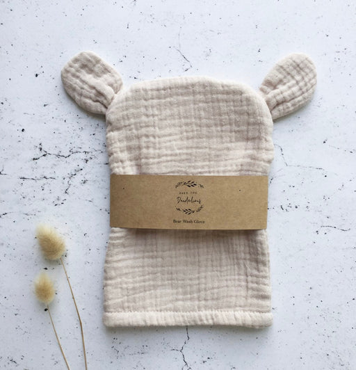 OVER THE DANDELIONS BEAR WASH GLOVE - SAND