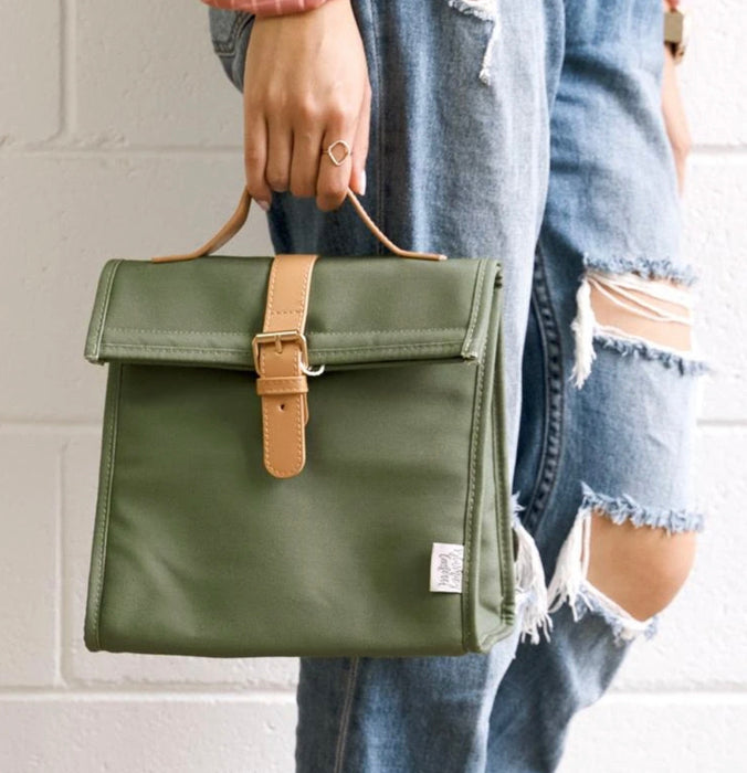 THE SOMEWHERE CO LUNCH SATCHEL - OLIVE FIELDS