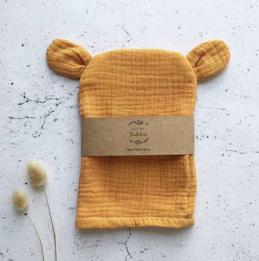 OVER THE DANDELIONS BEAR WASH GLOVE - SAFFRON