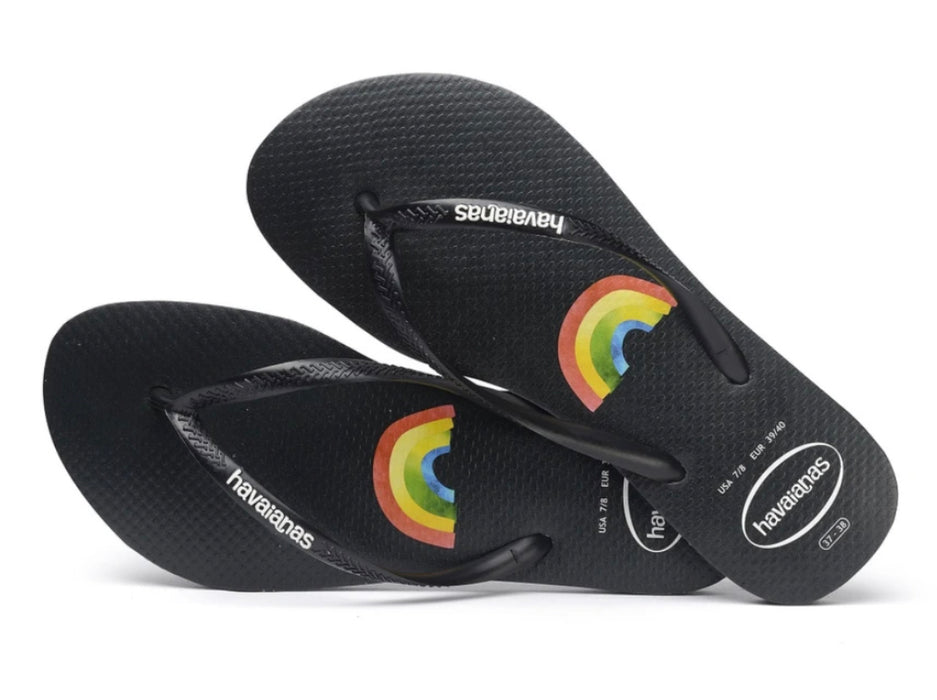 HAVAIANAS SLIM PLACEMENT BLACK WHITE
