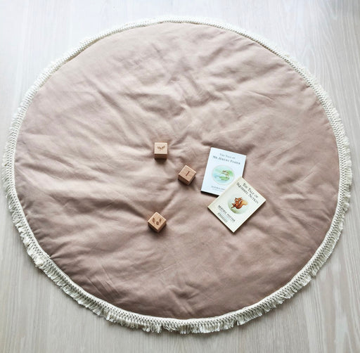 OVER THE DANDELIONS LINEN BABY MAT - BLUSH