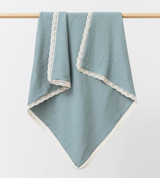 OVER THE DANDELIONS MUSLIN BLANKET LACE TRIM - SAGE