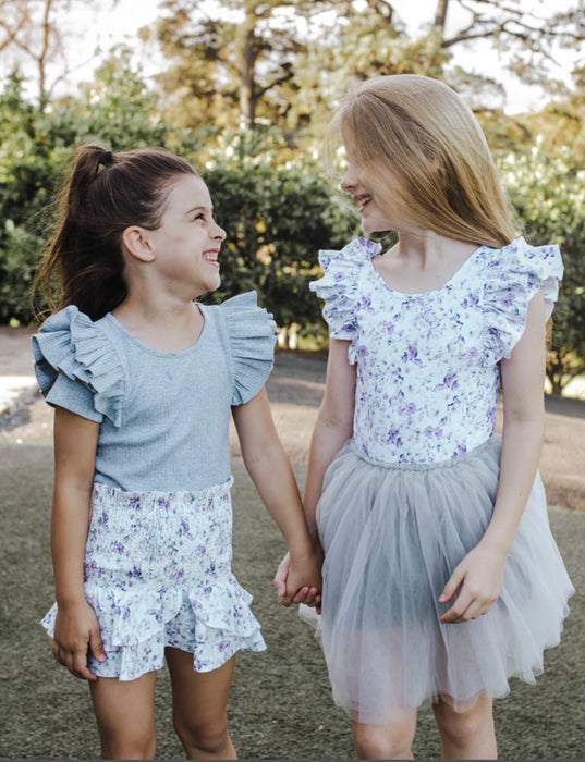 LITTLE HEARTS CO 2 In 1 SHIRRED TOP/SKIRT - LINEN LILAC SUMMER BLOOM