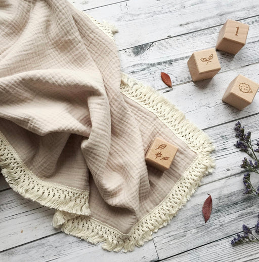 OVER THE DANDELIONS MUSLIN BLANKET TASSEL TRIM - SAND