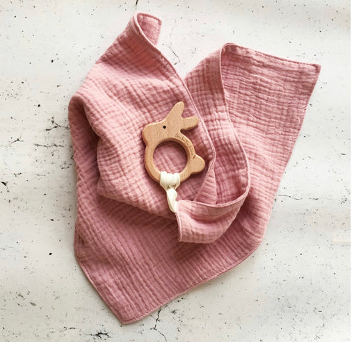 OVER THE DANDELIONS MUSLIN LOVEY WITH WOODEN BUNNY TEETHER - PEONY