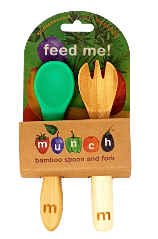 MUNCH BABY BAMBOO FORK AND SPOON - GREEN