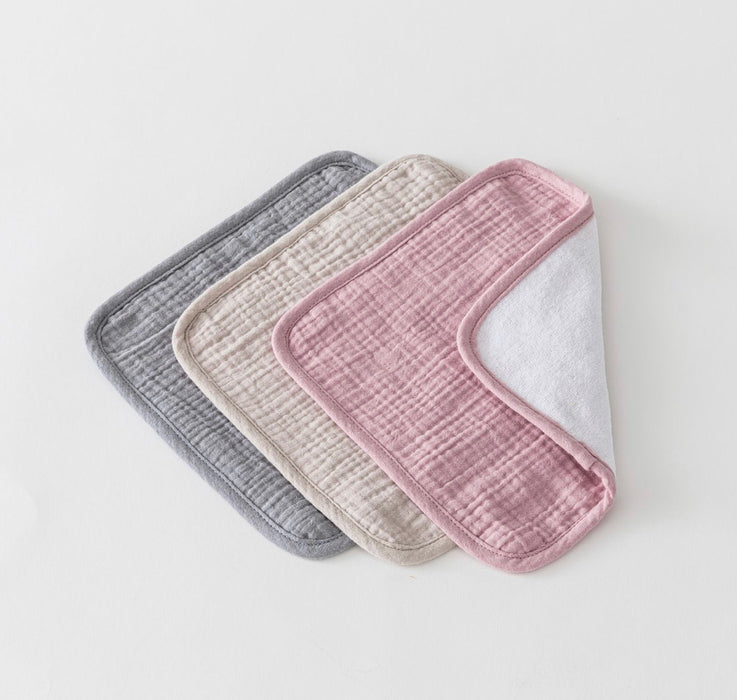 OVER THE DANDELIONS MUSLIN WASHCLOTH SET OF 3 - ROSY