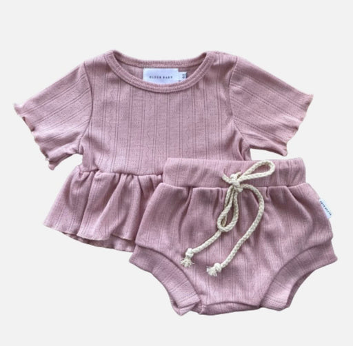 BLUSH BABY SHORT SLEEVED POINTELLE PEPLUM SET - DUSK