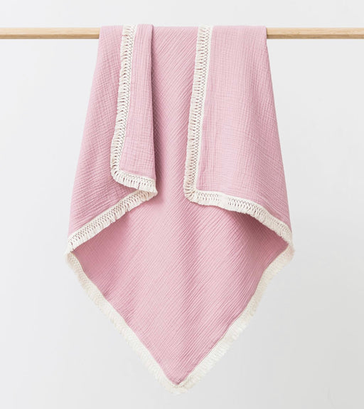 OVER THE DANDELIONS MUSLIN BLANKET TASSEL TRIM - PEONY