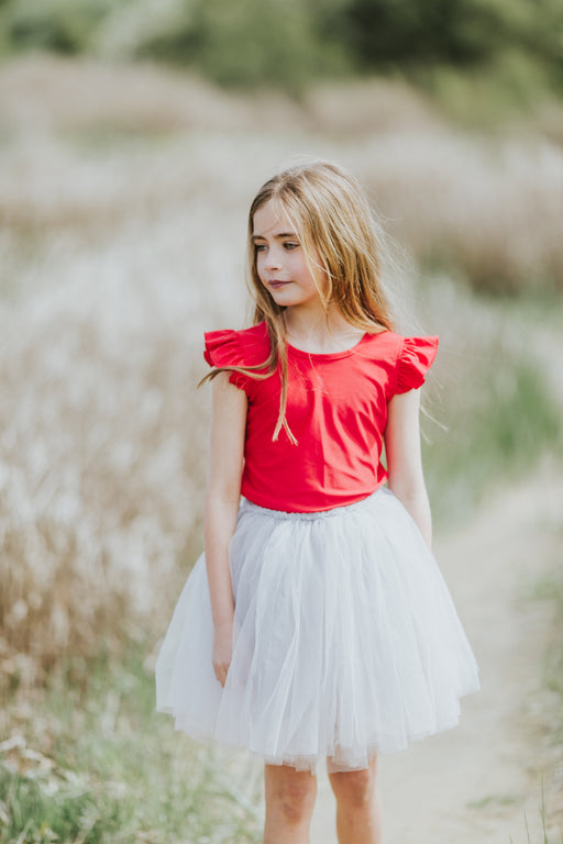 LITTLE HEARTS RED  FRILL LUXE LEOTARD