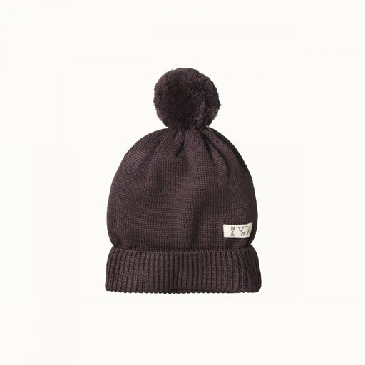 NATURE BABY ALPINE POM POM BEANIE - CHOCOLATE