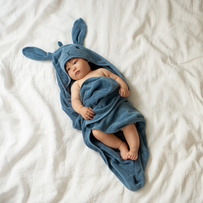 NATURE BABY BUNNY HOODED TOWEL DEEP BLUE