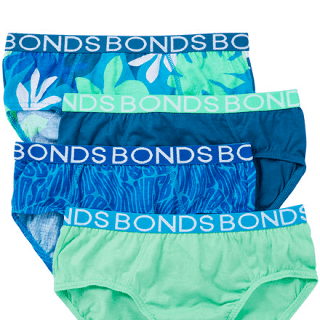 BONDS 4 PACK BOYS BRIEFS - GREEN/BLUE