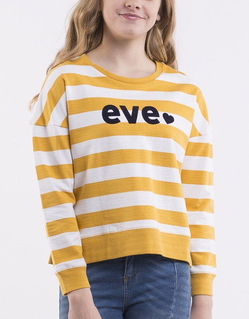 The Kids Store-EVE GIRL EVE LOGO CREW - AMBER/WHITE STRIPE-