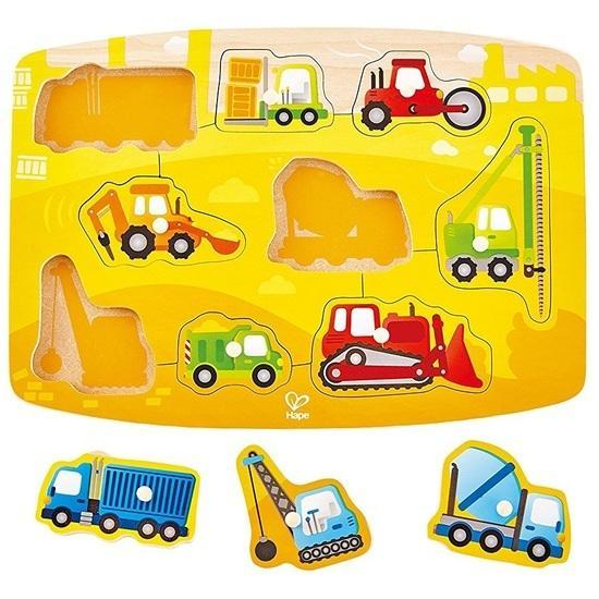 The Kids Store-HAPE CONSTRUCTION SITE PEG PUZZLE-Construction Site Puzzle-