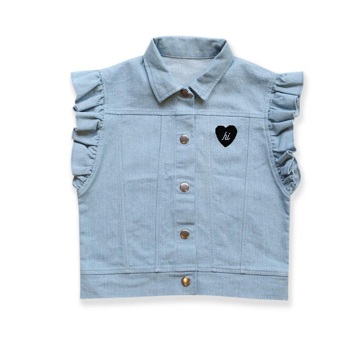 The Kids Store-HELLO STRANGER DENIM FRILL VEST-