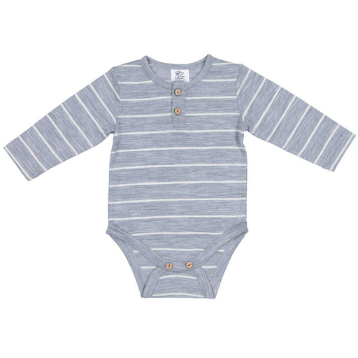 The Kids Store-LFOH MERINO FINN BODYSUIT - GREY MARLE STRIPE-
