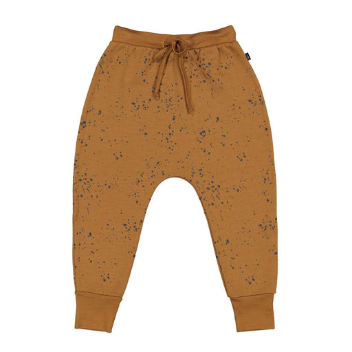 The Kids Store-LFOH MERINO SAWYER DROPCROTCH PANT - MUSTARD PAINT SPLATTER-