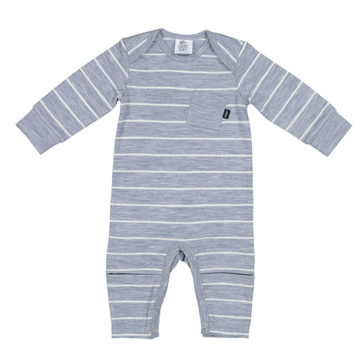 The Kids Store-LFOH MERINO SLASHER ALL-IN-ONE - GREY MARLE STRIPE-