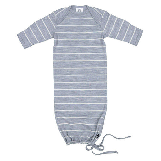 The Kids Store-LFOH MERINO THE NEWCOMER BABY GOWN - GREY MARLE STRIPE-