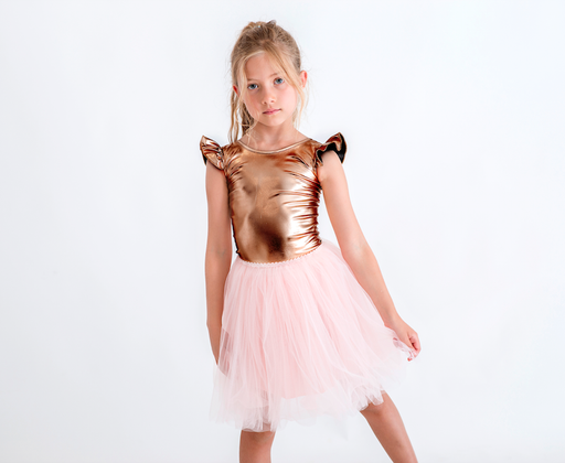 The Kids Store-LITTLE HEARTS BRONZE LUXE FRILL LEOTARD-