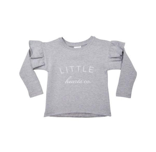 The Kids Store-LITTLE HEARTS LOGO FRILL JUMPER - GREY-