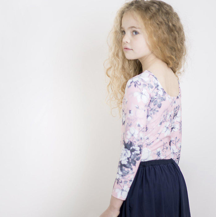 The Kids Store-LITTLE HEARTS L/SLEEVE LEOTARD - DUSTY ROSE-