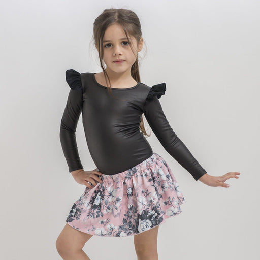 The Kids Store-LITTLE HEARTS L/SLEEVE LEOTARD - FAUX LEATHER-