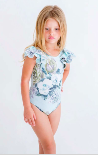 The Kids Store-LITTLE HEARTS LUXE DOUBLE FRILL LEOTARD - MINT ROSE-