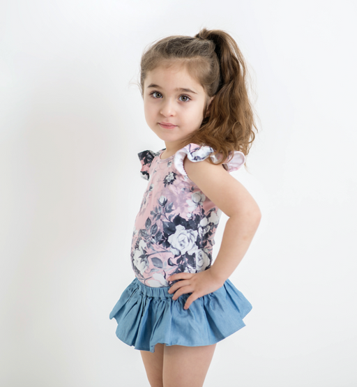 The Kids Store-LITTLE HEARTS LUXE FRILL LEOTARD - DUSTY ROSE-