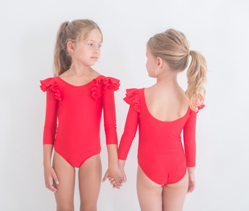 The Kids Store-LITTLE HEARTS RED DOUBLE FRILL L/SLEEVE LUXE LEOTARD-