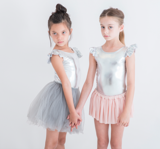 The Kids Store-LITTLE HEARTS SILVER LUXE FRILL LEOTARD-