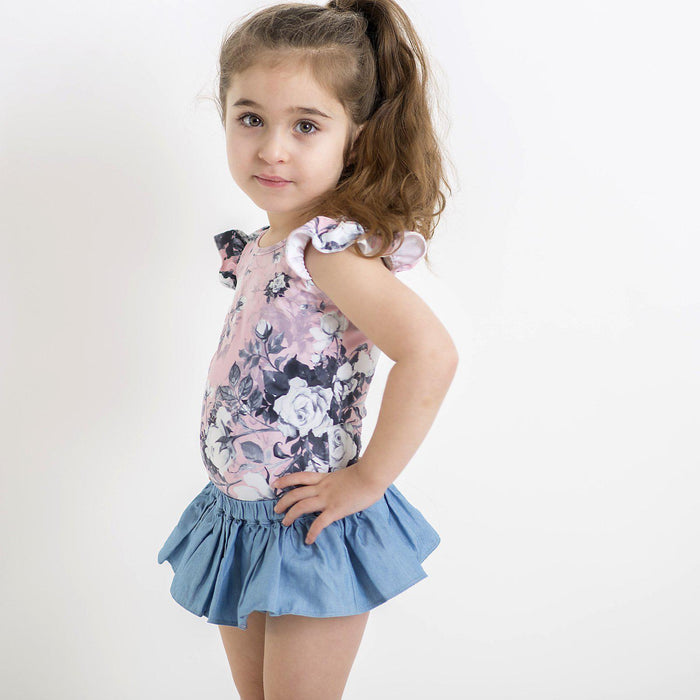 The Kids Store-LITTLE HEARTS SKORT - CHAMBRAY-
