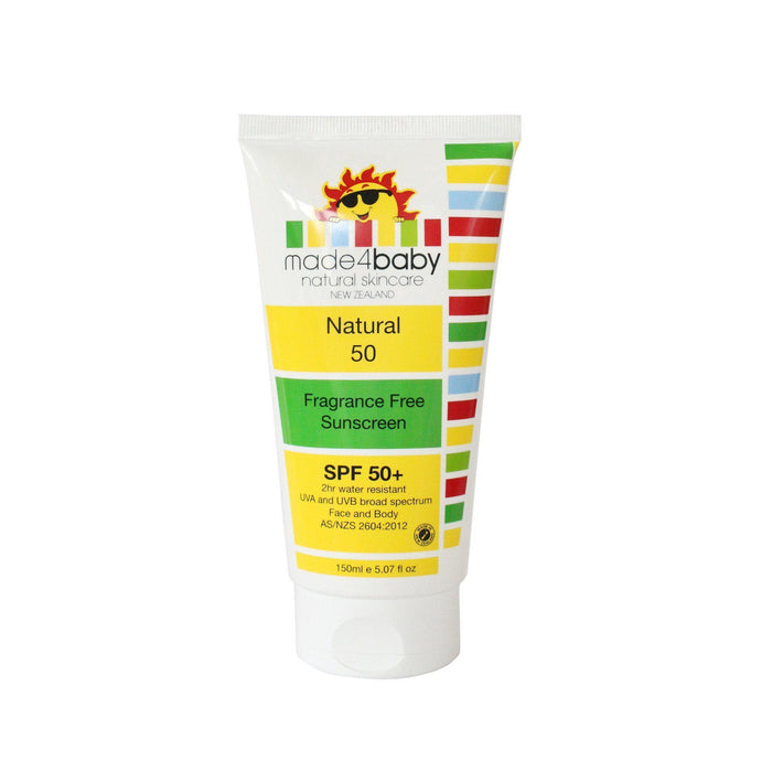The Kids Store-MADE4BABY NATURAL SUNSCREEN SPF 50+ (FRAGRANCE FREE) 150ML-