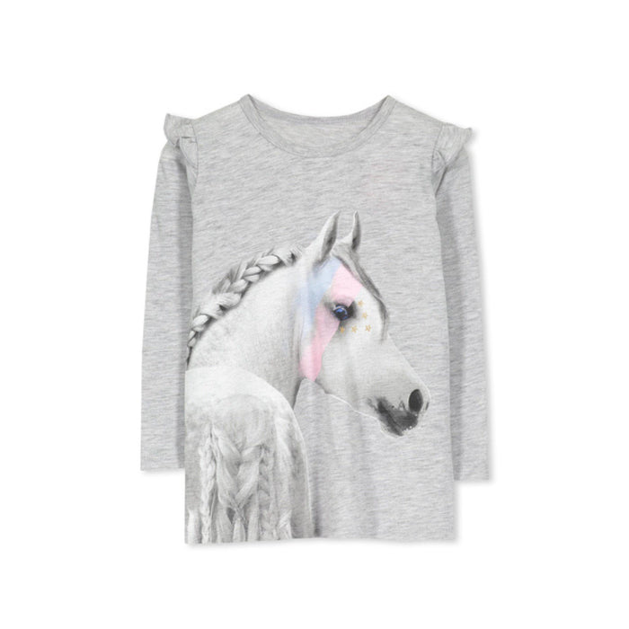 The Kids Store-MILKY HORSE TEE - SILVER MARLE-