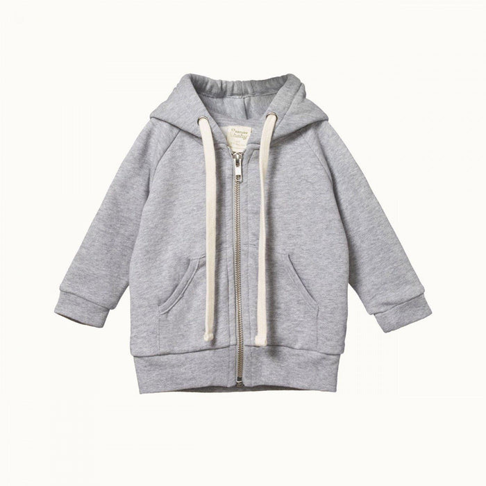 The Kids Store-NATURE BABY HOODIE SWEATSHIRT KNIT - GREY MARLE PRINT-