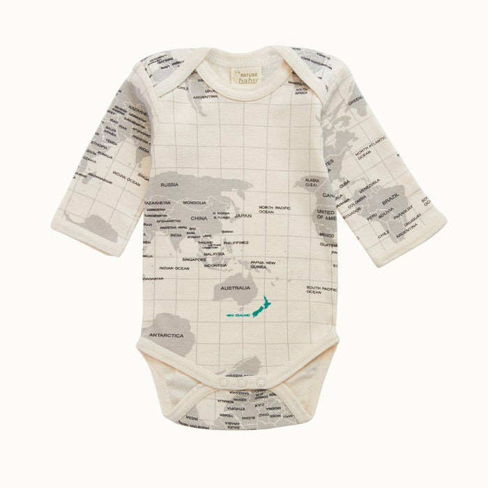 The Kids Store-NATURE BABY LONG SLEEVE BODYSUIT - GREY ATLAS PRINT-