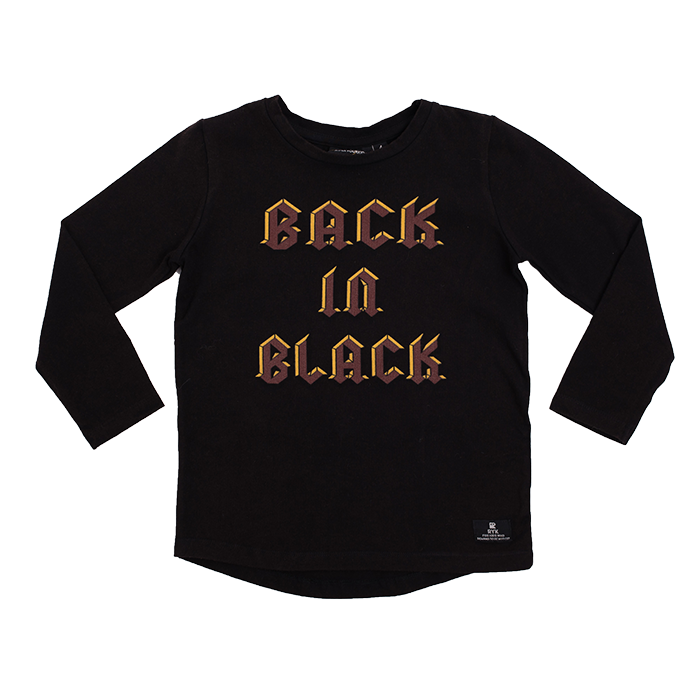 The Kids Store-ROCK YOUR KID BACK IN BLACK L/SLEEVE TEE-