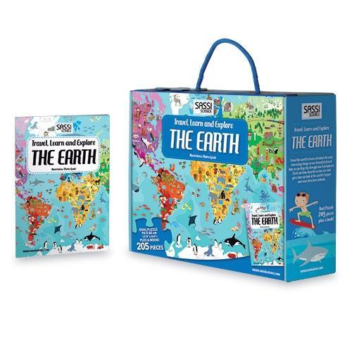 The Kids Store-SASSI SCIENCE TRAVEL, LEARN & EXPLORE THE EARTH PUZZLE & BOOK-