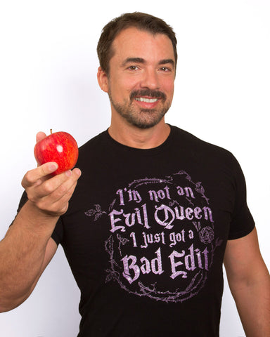 Evil Queen T Shirt - Diamond Purple Sparkle Ink on Black