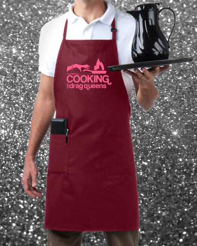 Cooking with Drag Queens Apron - Pink on Burgundy